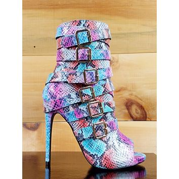 "Nelly Bernal Harmony Multi Color Snake Open ToeStrappy 4.5"" Heel Ankle Boot 6-11"