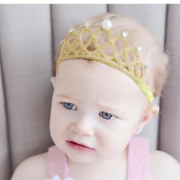 Gold Glitter Crown Headband for Babies, Glitter Birthday Crown Tiara Headband, Photography Prop Crown, Baby Girl Headband Gold Tiara