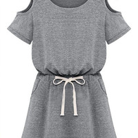 Cut-Out Elastic Drawstring Waist Dress