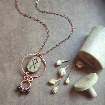 othala • rune necklace - hammered copper necklace - viking jewelry - witch jewelry - made in finland - copper pendant rune