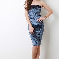 Crush Velvet Tube Midi Bodycon Dress