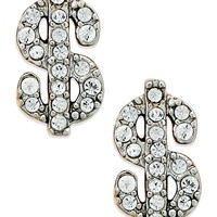 Juicy Couture Gold-Tone Pave Dollar Sign Stud Earrings