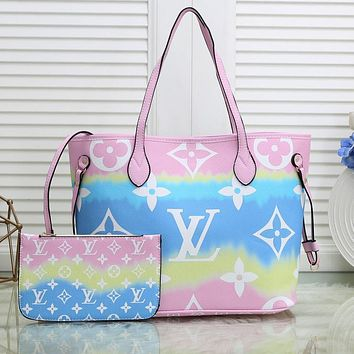 Onewel Louis Vuitton Print LV Gradient Colorful Internal Stripe Shoulder Bag Shopping Bag Pink