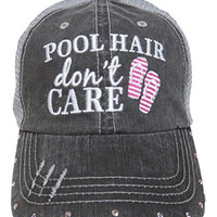 """NEW! Embroidered """"Pool Hair Don't Care"""" Grey Trucker Cap Fashion (Hot Pink Flip Flops)"""