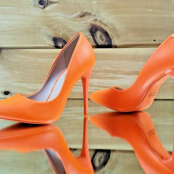 "Fabio Bright Neon Orange 4.5"" High Heel Stiletto Shoes Pointy Toe Pump 5.5-11"