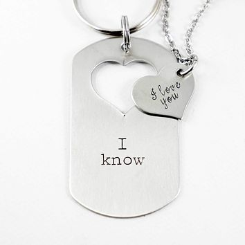 """I love you"" ""I know"" - Dog Tag with heart cut out & Heart set"