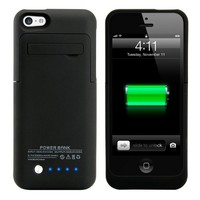 GEARONIC TM 2200mAH External Battery Case with Kickstand for Apple iPhone 5C - Black