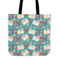 Shih Tzu Flower Linen Tote Bag