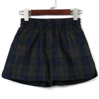 Gray Plaid Elastic Waist Woolen Shorts