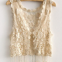 Crochet Knitted Floral Fringed Vest