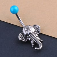 Elephant Belly Button Navel Ring Silver / Blue