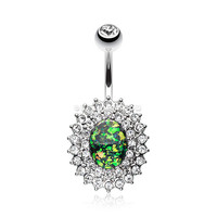 Radiant Opal Sparkle Belly Button Ring (Clear)