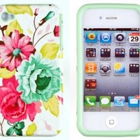 DandyCase 2in1 Hybrid High Impact Hard Pink Floral Pattern + Mint Green Silicone Case Cover For Apple iPhone 4S & iPhone 4 + DandyCase Screen Cleaner