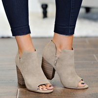 *  Mattie Block Heel With Open Toe Booties : Light Taupe