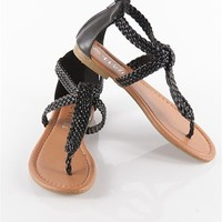 Braided Strapy Flip Flops - Black at Lucky 21 Lucky 21