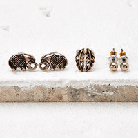 Feather and Elephant Stud Set