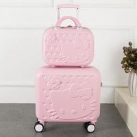 2018 Hot 2PCS/SET Lovely hello Kitty 16 inches girl students trolley case 14inch child cartoon Travel luggage suitcase Boarding