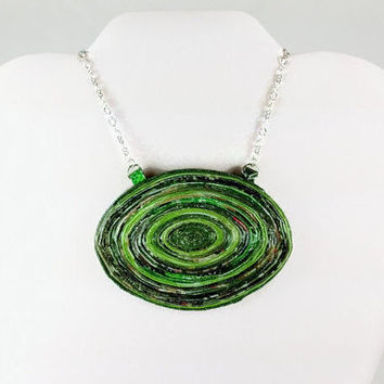 Chunky Green Statement Necklace, upcycyled paper necklace, oversized necklace, large green pendant, huge green necklace, upcycled jewelry