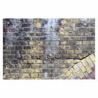 "Susan Sanders ""Painted Grunge Brick Wall"" Grey Yellow Decorative Door Mat"