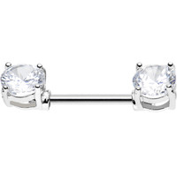 Double Clear Gem Barbell Nipple Ring | Body Candy Body Jewelry