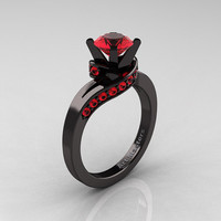 Classic 14K Black Gold 1.0 Ct Fire Ruby Designer Solitaire Ring R259-14KBGR