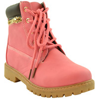 Kids Ankle Boots Faux Leather Lace Up Ankle Padded Hiking Shoes Fuchsia