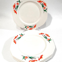 """Alfred Meakin Plate, Art Deco """"Louden Pattern, Set Of 5 Dinner Plates, Hand Painted Orange Flowers, Green Leaves With Black, Vintage 1930's"""