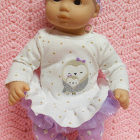 """AMERICAN GIRL Bitty Baby Clothes """"Snowy Owl Love"""" (15 inch) doll outfit top dress, leggings, booties/ socks, and headband / hair clip"""