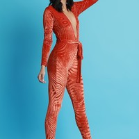 Burn Out Velvet Deep-V Jumpsuit