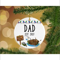 Fishing Pregnancy Announcement Dad EST Keepsake Christmas Ornament - Gifts for Him - Christmas Gift Ideas - RO0082