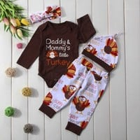 Thanksgiving Newborn Baby Boys Girls Clothes Set Romper+Pant+Hat+Headband Baby Outfit Infant Clothing Outfits