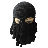 tentacle octopus knitted beanie hat wind proof ski mask novelty women men hat mask squid cap cthulhu tentacles gift TIML66