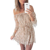 Off Shoulder Sequin Tassel Beach Party Dress With Bulit-In Shorts