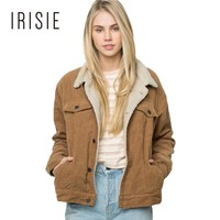 IRISIE Apparel Camel Warm Women Jacket Coat Autumn Casual Double Pockets Chic Outwear Winter Vintage Single Breasted Soft Coats