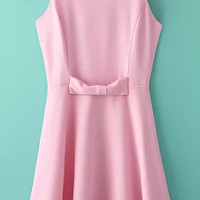 Pink Scoop Sleeveless Bow Dress
