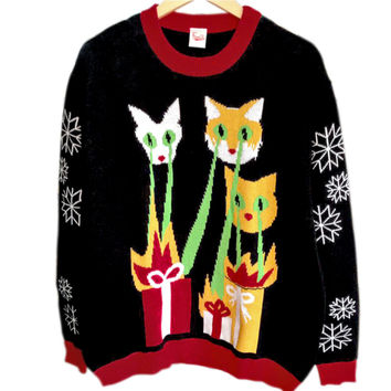 Laser Cats Tacky Ugly Christmas Sweater