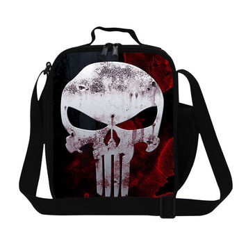 personalized skull work lunch bag for adult,stylish insulated sling lunch containers for children,cool men's reusable food bag