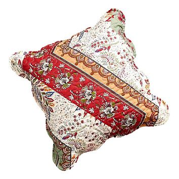 """DaDa Bedding Set of 2 Bohemian Cranberry Sage Chevron Floral Throw Pillow Covers, 18"""" (JHW924)"""