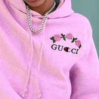 GUCCI : Champion Fashion Casual Trending Rose Print Sweater Pink hoodie pullover Hoodie Pink G