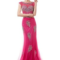 Long Tulle Prom Homecoming Dresses for Girls Women Cocktail with Crystal