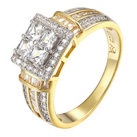 Princess Cut Solitaires Ring Wedding 14k Gold On Sterling Silver Wedding Bridal