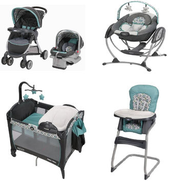 Graco Affinia Blue Complete Baby Gear Bundle, Stroller Travel System, Play Yard, Swing, and High Chair