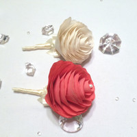 Paper flower and satin ribbon boutonnieres in colors of your choice,  Men's lapel flower, Prom boutonniere, Paper flower corsages