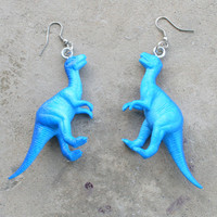 DINOSAUR Earrings...dangly. novelty. dino. retro. science. kitsch jewelry. plastic toy. blue dino. jurassic park. t rex. roar. dinosaur
