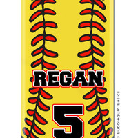 CUSTOM iPhone 5 5S 5C 4s 4 Samsung Galaxy s3 siii Phone Case - Softball Fast Pitch Name Number Yellow - Monogram Personalized