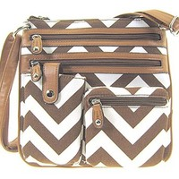 Small Chevron Print Hipster Messenger Bag Cross Body Purse (Brown)