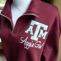 Texas A&M logo Quarter Zip Sweatshirt Aggie Girl