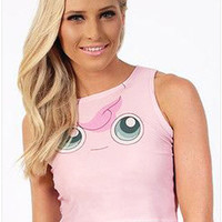 Pink Eye Print Sleeveless Crop Tank Shirt
