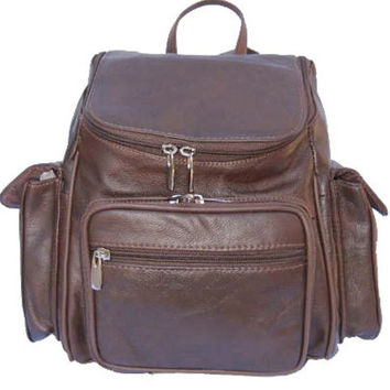 Soft Leather Backpack Travel Bag (Black, Brown, Tan)