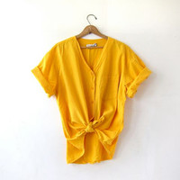 Vintage Yellow Shirt. Cotton Pocket Shirt. Slouchy Button Up Tee Shirt. Minimal Shirt. Basic TShirt.